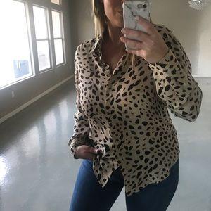 Animal print 100% silk button down blouse size 12